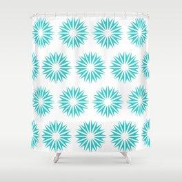 Turquoise Modern Sunbursts Shower Curtain