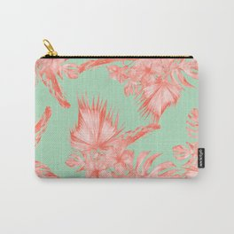 Dreaming of Hawaii Coral Pink + Pastel Green Carry-All Pouch