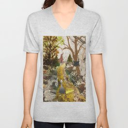 Geese on the golden lane Unisex V-Neck
