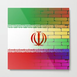 Gay Rainbow Wall Iranian Flag Metal Print