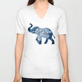Elephant Mandala Indigo Blue Tie Dye Unisex V-Neck