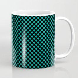 Black and Pool Green Polka Dots Coffee Mug