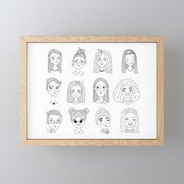 Everybody's Beautiful Doodle Women Portraits Framed Mini Art Print