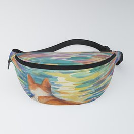 Corgi - sunset surfer Fanny Pack