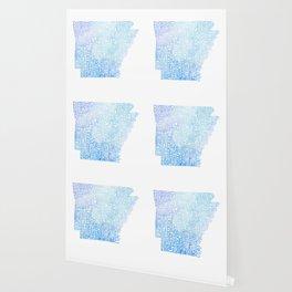 Typographic Arkansas - Blue Watercolor map Wallpaper