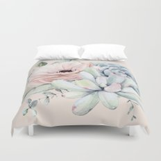 Elegant Blush Pink Succulent Garden by Nature Magick Duvet Cover