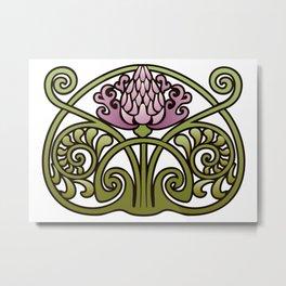 Nouveau Thistle Metal Print