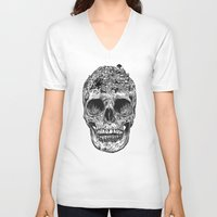 skull V-neck T-shirts featuring Skull Island by Rachel Caldwell