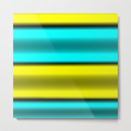 Yellow & Cyan Horizontal Stripes Metal Print