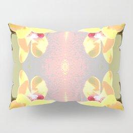 Yellow Orchid Pattern Pillow Sham