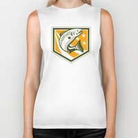 trout Biker Tanks featuring Trout Jumping Retro Shield by patrimonio