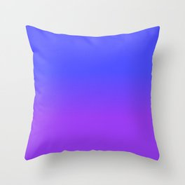 Neon Purple and Bright Neon Blue Ombré Shade Color Fade Throw Pillow