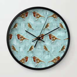 Winter Robin Redbreast. Wall Clock