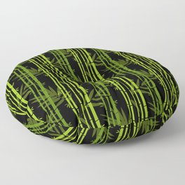 Green Bamboo Shoots and Leaves Pattern on Black Floor Pillow