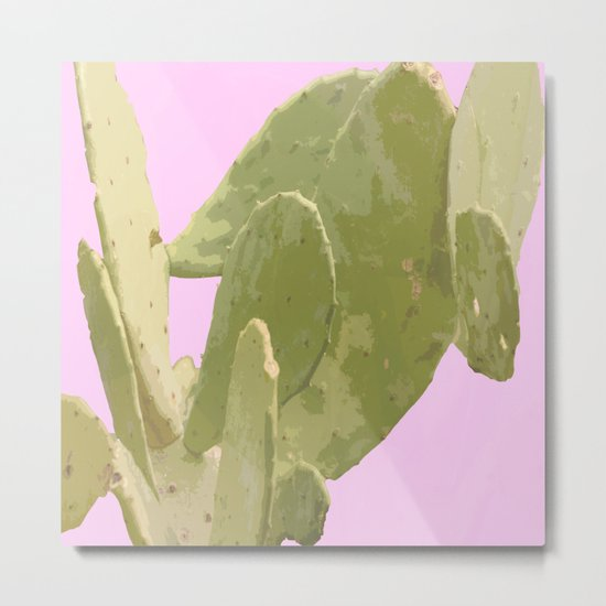 Green cactus on a pink background Metal Print
