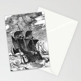 Vintage -  Ship -  Line Art -  Boat -  Vessel -  Vehicle - Vintage illustration. Retro décor. Stationery Cards