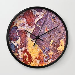Rust Purple Red Yellow Blue Wall Clock