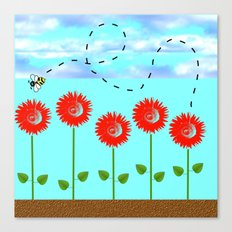 Sunflowers and bee Canvas Print