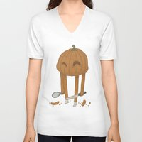 pumpkin V-neck T-shirts featuring Pumpkin by Gabor Nemethi
