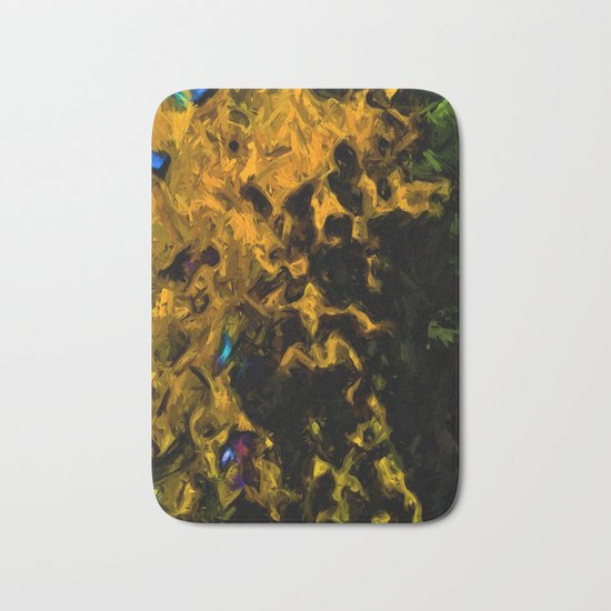 Gold Tree with Green Trees Bath Mat