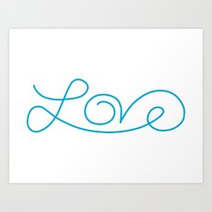 Love calligraphy print - Aqua blue Art Print