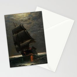Schooner at Midnight off the Rhode Island Coast by James Gale Tyler Stationery Cards
