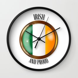 Irish Proud Flag Button Wall Clock