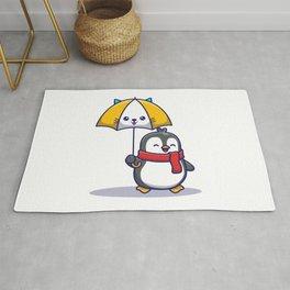Cute Penguin With Umbrella Icon Illustration Animal Icon Concept Isolated Flat Cartoon Style (1) Rug