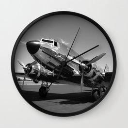 Douglas DC-3 Dakota Chrome Art Deco Airplane black and white photograph / art photography by Brian Burger Wall Clock