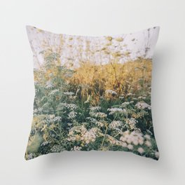 Cypriot Sunset with Queen Annes Lace Flowers Throw Pillow