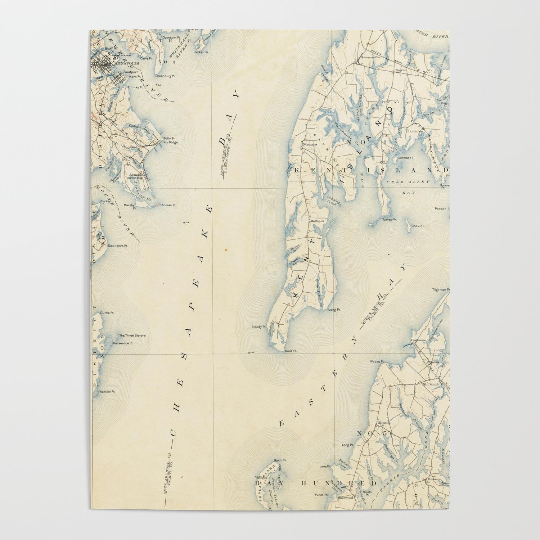 Vintage Annapolis MD & Chesapeake Bay Map (1902) Poster by bravuramedia