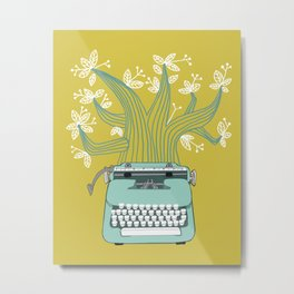 The Typing Tree Blue Metal Print