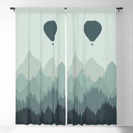 Hot Air Balloon flies over the Mountains Blackout Curtain