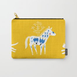 Folk horse on yellow Carry-All Pouch