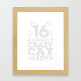 Katzendame 16. Geburtstag Geschenk Framed Art Print