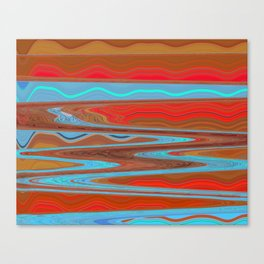 Abstract Retro Lava Water Deep Earth Landscape Canvas Print