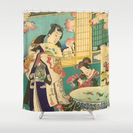 Spring Outing In A Villa Diptych #1 by Toyohara Kunichika Shower Curtain