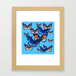 MODERN ART DECORATIVE BLUE-BROWN  BUTTERFLIES Framed Art Print