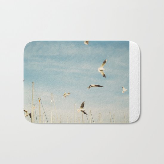 Seagulls Flying In The Sky Bath Mat