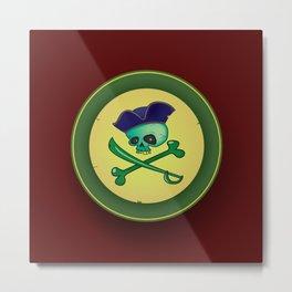green pirate skull Metal Print