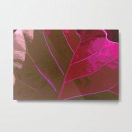 Leaf Texture in Red Metal Print
