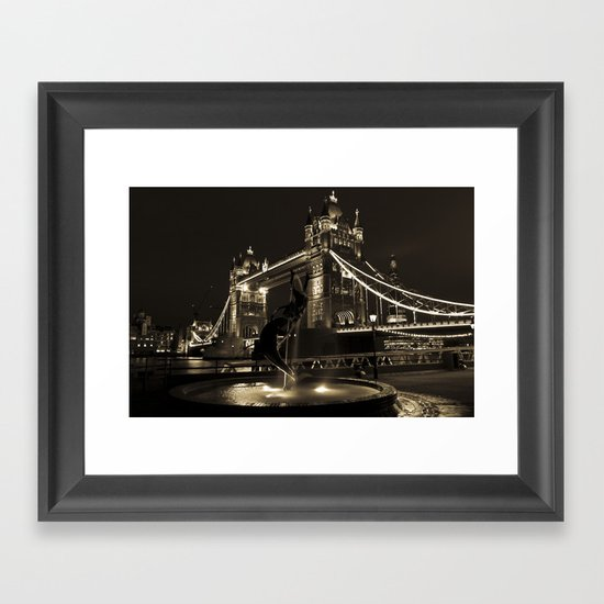 Girl and Dolphin and Tower Bridge Framed Art Print