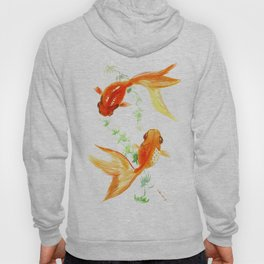 Goldfish, Feng Shui Asian Watercolor Hoody