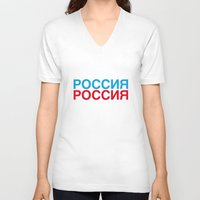russia V-neck T-shirts featuring RUSSIA by eyesblau