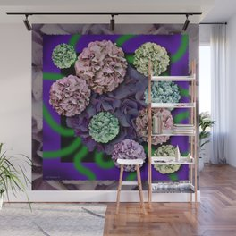 HYDRANGEAS FADING ABSTRACT BOUQUET  Wall Mural