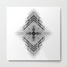 Vigorous and bold fractal geometric shapes with compass symbol Metal Print