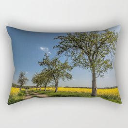 Spring landscape- a trail in the rapeseed Rectangular Pillow