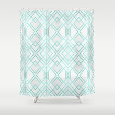 Turquoise Geo Shower Curtain