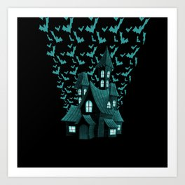 Wrath Blue Halloween Haunted House Bat Flyover Art Print