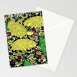 YELLOW & BLACK FLORAL FRIVOLITY FANTASY GARDEN Stationery Cards